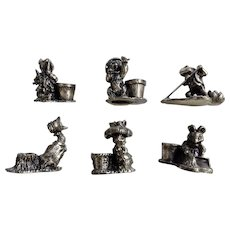 The World of Peter Rabbit Beatrix Potter Pewter Miniature Birthday Candle Holders Figurines