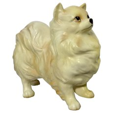 Vintage Yellow Pomeranian Dog Ceramic Figurine Japan