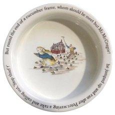 Wedgwood Peter Rabbit 'Stop Thief' Porringer Children's Soup Bowl Beatrix Potter England