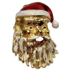 Ho Ho Ho  Santa Claus Gold-tone Enamel Painted Pin Christmas Gerry's Jewelry