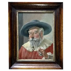 Joseph (Jos.) Scheibenbogen Figural Portrait of a Old Man with Pipe Oil Painting Signed by München German Artist