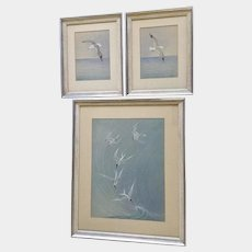 Lillian Grace Paca ( 1883-1978) Seagulls Watercolor Set of 3 Signed By Listed Artist