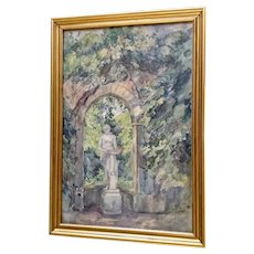 V A Holstein, Sculpture in Sanssouci Palace Garden Landscape Watercolor Painting Signed by Artist 1917