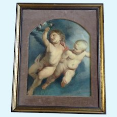 Rococo Cathedral Ceiling Art Oil Painting on Paper Angel Cherubs