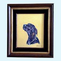 E C Carnohan Dana Labrador Retriever Dog Portrait Oil Painting