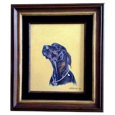 E C Carnohan Dana Labrador Retriever Dog Portrait Oil Painting Signed by Artist