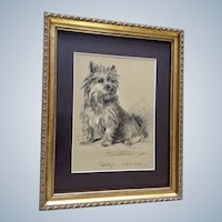 1930's-1940's Lucy Dawson, Cairn Terrier Named Sally Framed Print from the Book, Dogs Rough And Smooth