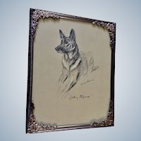 1930's-1940's Lucy Dawson, German Shepherd Named Lady Olfina Framed Print from the Book, Dogs Rough And Smooth