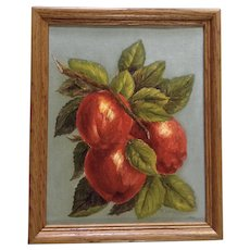 T Womack, Still Life Branch with Apples Oil Painting on Canvas Board Signed by Artist 1966