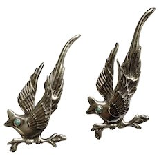 Two Mexican Vintage Sterling Silver and Turquoise Birds Brooch Pins