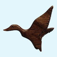 Carved Wooded Duck in Flight Pin Waterfowl Brooch