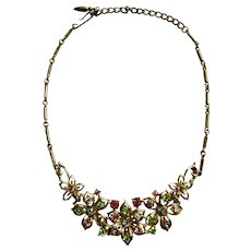 Beautiful Floral Gold-Tone Choker Necklace by Coro