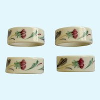 Lenox Purple Poppies On Blue Floral Oval Porcelain Napkin Rings