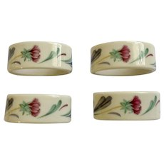 Lenox Purple Poppies On Blue Floral Oval Porcelain Napkin Rings Set of 4 in Box