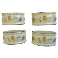 Lenox Provencal Blossom Blue and Orange Flowers Oval Porcelain Napkin Rings Set of 4 in Box