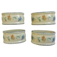 Lenox Provencal Blossom Blue and Orange Flowers Oval Porcelain Napkin Rings Set of 4 in Box