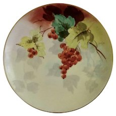 Vintage Red Grape Clusters Appetizer or Dessert Plate Haviland France White's Art Co. Chicago Hand Painted Signed by Artist Decker