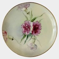 Vintage Pink Floral Appetizer or Dessert Plate Haviland France White's Art Co. Chicago Hand Painted Signed by Artist POL