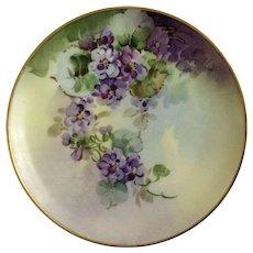 Vintage Purple Floral Appetizer or Dessert Plate Haviland France White's Art Co. Chicago Hand Painted Signed by Artist Hart