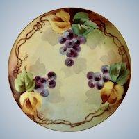Vintage Purple Gape Clusters Appetizer or Dessert Plate Haviland France White's Art Co. Chicago Hand Painted