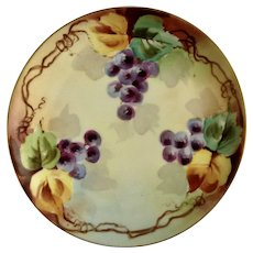 Vintage Purple Gape Clusters Appetizer or Dessert Plate Haviland France White's Art Co. Chicago Hand Painted