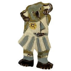Adorable Koala Bear Girl in Summer Outfit Art Pottery Wall Hanging Decor Plaque Initialed By Artist BR 1991