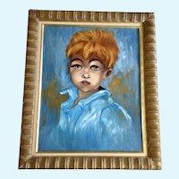 Elida, Redhead Little Boy Portrait Mid-Century Oil Painting