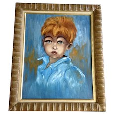 Elida. Big Blue Eyed Redhead Little Boy Mid-Century Oil Painting Signed By Artist