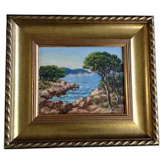 J Rougier, French Mediterranean Coastline Landscape Oil Painting Signed By French Artist
