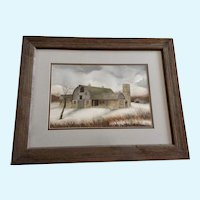 Michael James, Snowy Day at the Farm Landscape Barn Watercolor Painting