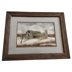 Michael James, Snowy Day at the Farm Landscape Barn Watercolor Painting Signed by Artist