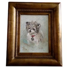 Zika Laky, Adorable Dog Portrait Mid-Century Oil Painting Signed By Artist