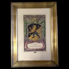 Isaac Sailmaker, Coat of Arms With a Crown, Star and Lion Family Crest, Sweden Vastergotland Printed in Italy Etching Intaglio Print Hand-Colored Gilding,
