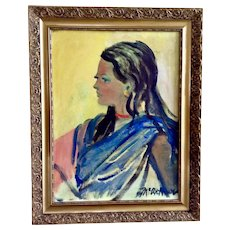 Carol McArthur, Beautiful Woman Oil Painting Portrait Signed By Artist