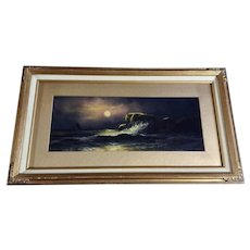 Nocturnal Pastel Painting A Moonlit Night Illuminating Waves on Rocky Shore
