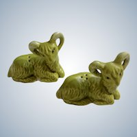 Mid-Century Bighorn Sheep Rams Salt and Pepper Shakers Ceramic S&P Figurines