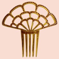 Vintage Faux Tortoiseshell Ruby Red Rhinestone Ornate Spanish Style Celluloid Fan Shaped Hair Comb