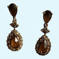 Monet Amber Rhinestone Encrusted Jeweled Tear Drop Stud Post Earrings for Pierced Ears