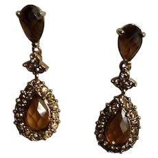 Monet Amber Rhinestone Encrusted Jeweled Tear Drop Stud Post Earrings for Pierced Ears