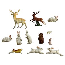 Bunnies, Deer, Owl and Elephant Animals 1950's Diorama 12 Early Plastic Figurines