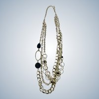 Bright Silver-Tone Chain Necklace Costume Jewelry