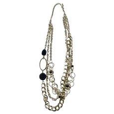 Bright Silver-Tone Chain Necklace Costume Jewelry