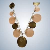 """Translucent Pink and Gold-Tone Medallion Chain Necklace Costume Jewelry 39"""""""