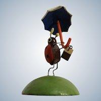 Tiny Ladybug with Purse and Umbrella Hand Made Wooden Figurine Erzgebirge Original Germany