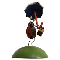 Tiny Ladybug with Purse and Umbrella Hand Made Wooden Figurine Erzgebirge Original Germany