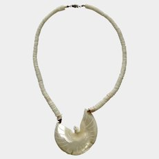 """Carved Mother of Pearl Shell Dove or Phoenix Bird Pendant Necklace 19"""""""