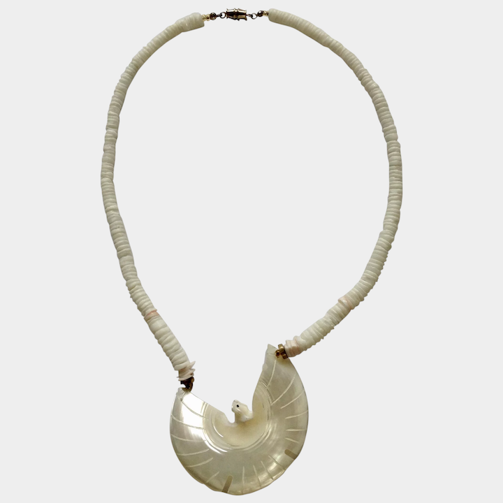 """a3a19a36e Carved Mother of Pearl Shell Dove or Phoenix Bird Pendant Necklace 19"""" :  Gumgumfuninthesun   Ruby Lane"""