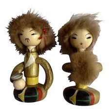 Vintage Man and Woman Mongolian Wooden Figurines with Fur Trim