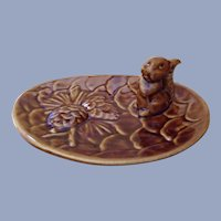 Mid-Century Cute Squirrel on Pinecone Nut Bowl or Condiment Plate