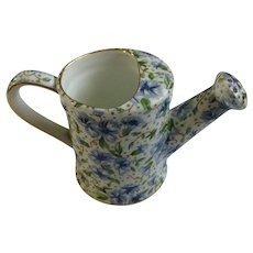 Ainsley Porcelain Watering Can Blue Floral Cornflowers Discontinued Chintz Two's Company